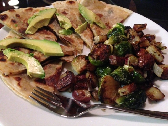 Bacon, Cheese & Avocado Quesadillas with Brussel Sprout Hash ...